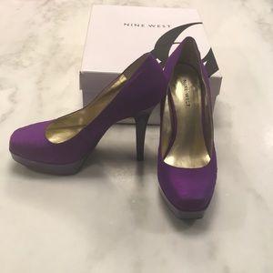 Nine West Hope Float Purple Silk Pumps- Size 7